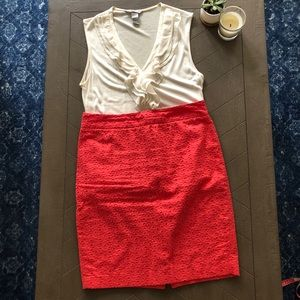 Coral skirt with embroidery detail